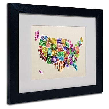 Trademark Fine Art Michael Tompsett 'USA States Text Map' Matted Art Black Frame 11x14 Inches