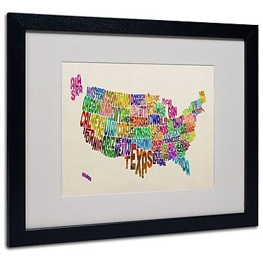 Trademark Fine Art Michael Tompsett 'USA States Text Map' Matted Art Black Frame 16x20 Inches