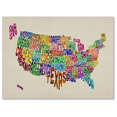 Trademark Fine Art Michael Tompsett 'USA States Text Map' Canvas Art 14x19 Inches