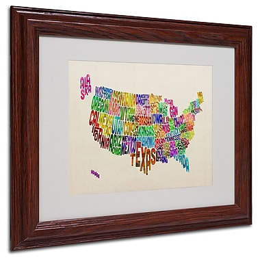 Michael Tompsett 'USA States Text Map' Matted Framed Art - 11x14 Inches - Wood Frame