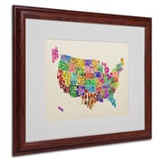 Michael Tompsett 'USA States Text Map' Matted Framed Art - 16x20 Inches - Wood Frame