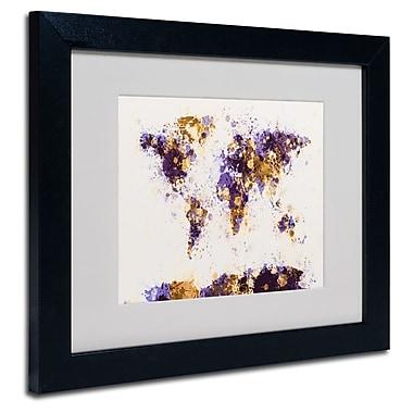 Trademark Fine Art Michael Tompsett 'Paint Splashes World Map 4' Matted Black Frame 16x20 Inches