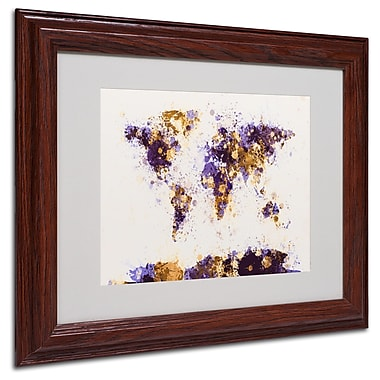 Michael Tompsett 'Paint Splashes World Map 4' Matted Framed - 16x20 Inches - Wood Frame