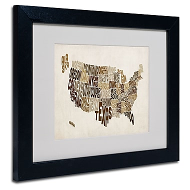 Trademark Fine Art Michael Tompsett 'USA States Text Map 2' Matted Art Black Frame 11x14 Inches