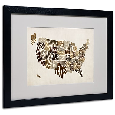 Trademark Fine Art Michael Tompsett 'USA States Text Map 2' Matted Art Black Frame 16x20 Inches