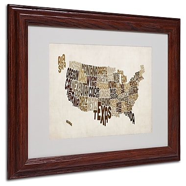 Michael Tompsett 'USA States Text Map 2' Matted Framed Art - 11x14 Inches - Wood Frame