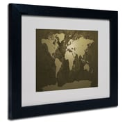 Trademark Fine Art Michael Tompsett 'Gold World Map' Matted Art Black Frame 16x20 Inches