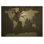 Trademark Fine Art Michael Tompsett 'Gold World Map' Matted Art Black Frame 11x14 Inches