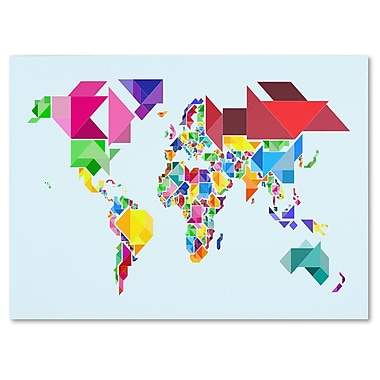 Trademark Fine Art Michael Tompsett 'Tangram Worldmap' Matted Art Black Frame 11x14 Inches