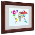 Michael Tompsett 'Tangram Worldmap' Matted Framed Art - 16x20 Inches - Wood Frame