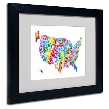 Trademark Fine Art Michael Tompsett 'USA States Text Map 3' Matted Art Black Frame 11x14 Inches