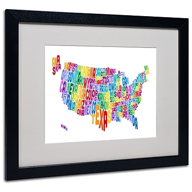 Trademark Fine Art Michael Tompsett 'USA States Text Map 3' Matted Art Black Frame 16x20 Inches
