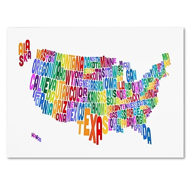 Trademark Fine Art Michael Tompsett 'USA States Text Map 3' Canvas Art 14x19 Inches