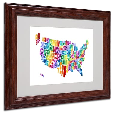 Michael Tompsett 'USA States Text Map 3' Matted Framed Art - 11x14 Inches - Wood Frame
