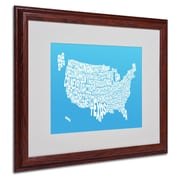 Michael Tompsett 'AZUL-USA States Text Map' Matted Framed - 16x20 Inches - Wood Frame