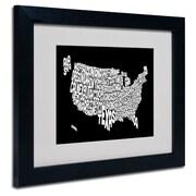 Trademark Fine Art Michael Tompsett 'BLACK-USA States Text Map' Matted Black Frame 11x14 Inches