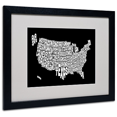 Trademark Fine Art Michael Tompsett 'BLACK-USA States Text Map' Matted Black Frame 16x20 Inches