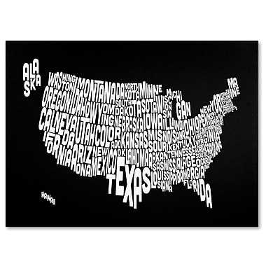 Trademark Fine Art Michael Tompsett 'BLACK-USA States Text Map' Canvas Art 16x24 Inches
