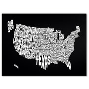 Trademark Fine Art Michael Tompsett 'BLACK-USA States Text Map' Canvas Art