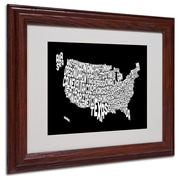 Michael Tompsett 'BLACK-USA States Text Map' Matted Framed - 11x14 Inches - Wood Frame