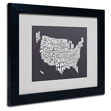 Trademark Fine Art Michael Tompsett 'CHARCOAL-USA States Text Map' Black Frame 11x14 Inches