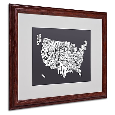 Michael Tompsett 'CHARCOAL-USA States Text Map' Framed - 16x20 Inches - Wood Frame