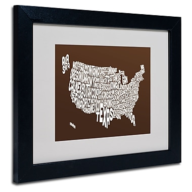 Trademark Fine Art Michael Tompsett 'CHOCOLATE-USA States Text Map' Black Frame 11x14 Inches