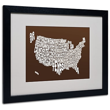 Trademark Fine Art Michael Tompsett 'CHOCOLATE-USA States Text Map' Black Frame 16x20 Inches