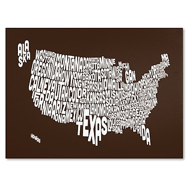Trademark Fine Art Michael Tompsett 'CHOCOLATE-USA States Text Map' Canvas Art 30x47 Inches