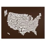 Trademark Fine Art Michael Tompsett 'CHOCOLATE-USA States Text Map' Canvas Art 16x24 Inches