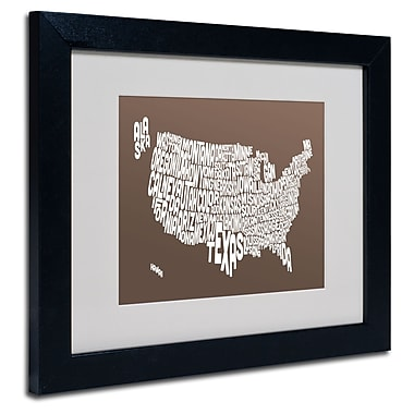 Trademark Fine Art Michael Tompsett 'COFFEE-USA States Text Map' Matted Black Frame 11x14 Inches