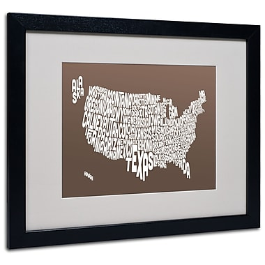 Trademark Fine Art Michael Tompsett 'COFFEE-USA States Text Map' Matted Black Frame 16x20 Inches