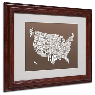 Michael Tompsett 'COFFEE-USA States Text Map' Matted Framed - 11x14 Inches - Wood Frame