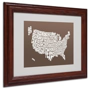 Michael Tompsett 'COFFEE-USA States Text Map' Matted Framed - 16x20 Inches - Wood Frame