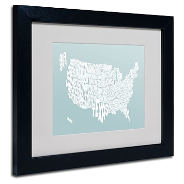 Trademark Fine Art Michael Tompsett 'DUCK EGG-USA States Text Map' Black Frame 11x14 Inches