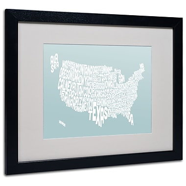 Trademark Fine Art Michael Tompsett 'DUCK EGG-USA States Text Map' Black Frame 16x20 Inches