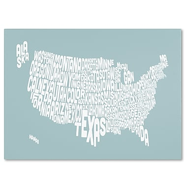 Trademark Fine Art Michael Tompsett 'DUCK EGG-USA States Text Map' Canvas Art 30x47 Inches