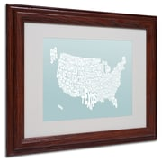 Michael Tompsett 'DUCK EGG-USA States Text Map' Framed - 11x14 Inches - Wood Frame