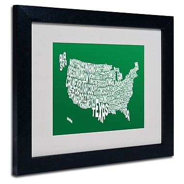 Trademark Fine Art Michael Tompsett 'FOREST-USA States Text Map' Matted Black Frame 11x14 Inches