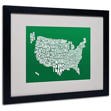 Trademark Fine Art Michael Tompsett 'FOREST-USA States Text Map' Matted Black Frame 16x20 Inches