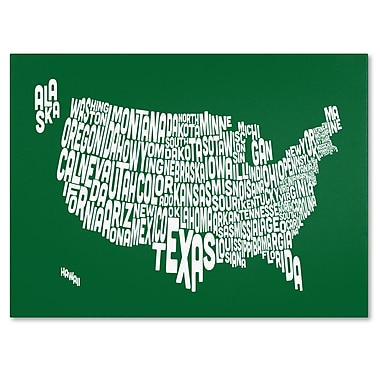 Trademark Fine Art Michael Tompsett 'FOREST-USA States Text Map' Canvas Art 14x19 Inches