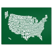 Trademark Fine Art Michael Tompsett 'FOREST-USA States Text Map' Canvas Art 22x32 Inches
