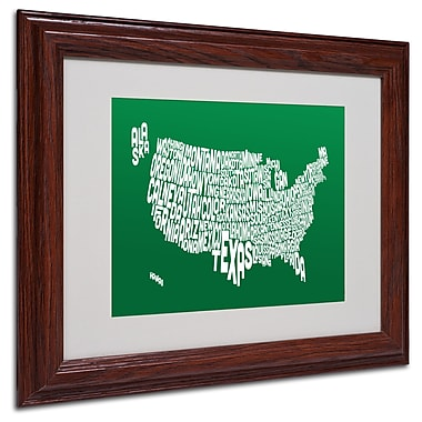 Michael Tompsett 'FOREST-USA States Text Map' Matted Framed - 11x14 Inches - Wood Frame