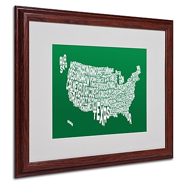 Michael Tompsett 'FOREST-USA States Text Map' Matted Framed - 16x20 Inches - Wood Frame