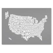 Trademark Fine Art Michael Tompsett 'GREY-USA States Text Map' Canvas Art 30x47 Inches