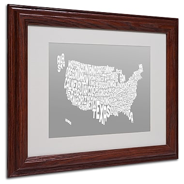 Michael Tompsett 'GREY-USA States Text Map' Matted Framed - 11x14 Inches - Wood Frame