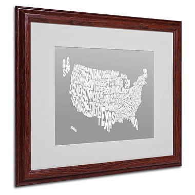 Michael Tompsett 'GREY-USA States Text Map' Matted Framed - 16x20 Inches - Wood Frame