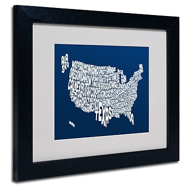 Trademark Fine Art Michael Tompsett 'NAVY-USA States Text Map' Matted Black Frame 11x14 Inches