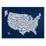 Trademark Fine Art Michael Tompsett 'NAVY-USA States Text Map' Canvas Art 14x19 Inches