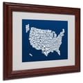 Michael Tompsett 'NAVY-USA States Text Map' Matted Framed - 11x14 Inches - Wood Frame